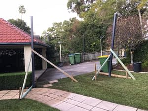 Building the shade sail: Posts installed...