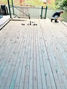 Installing the decking boards...